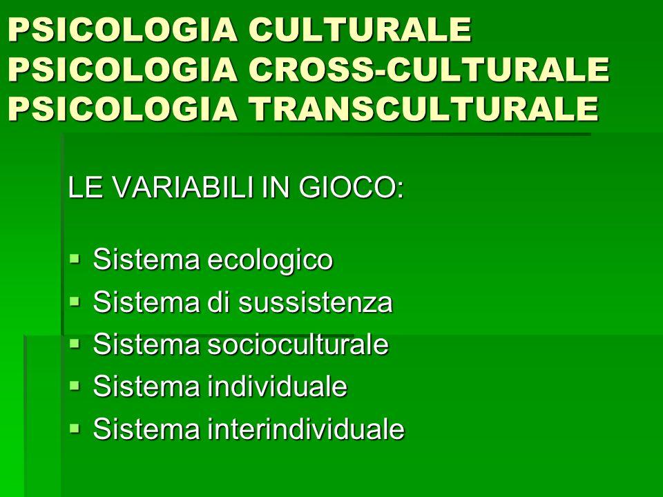 PSICOLOGIA CULTURALE PSICOLOGIA CROSS-CULTURALE PSICOLOGIA TRANSCULTURALE