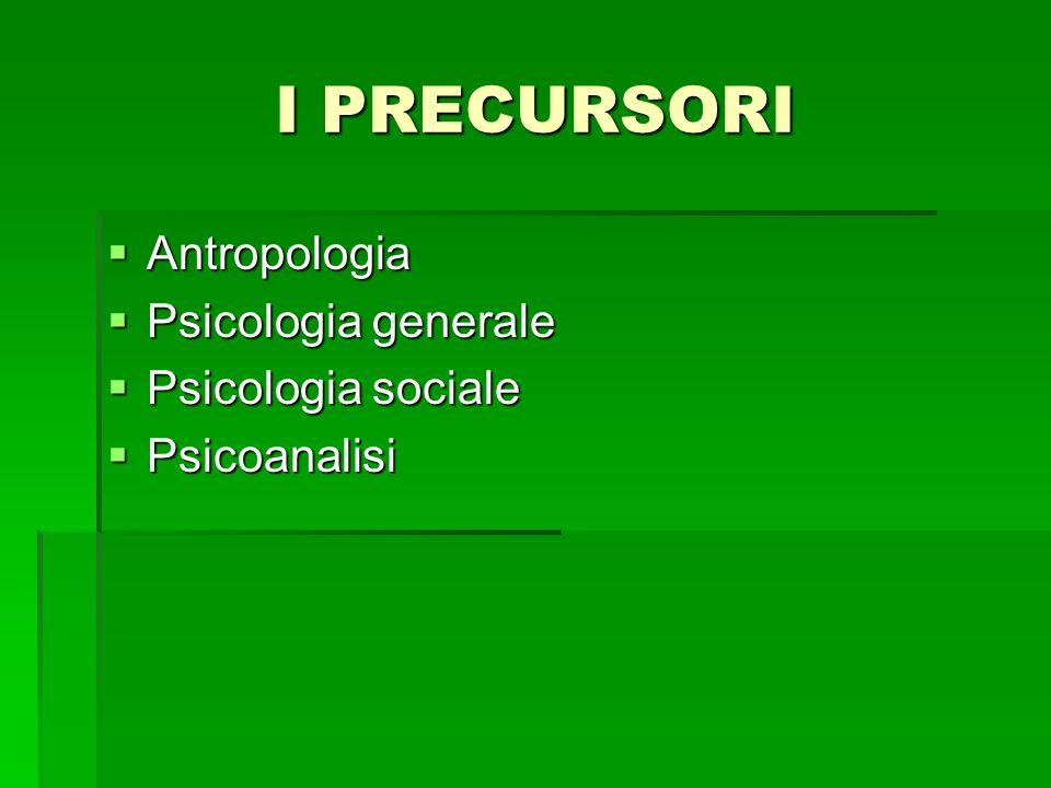 I PRECURSORI Antropologia Psicologia generale Psicologia sociale