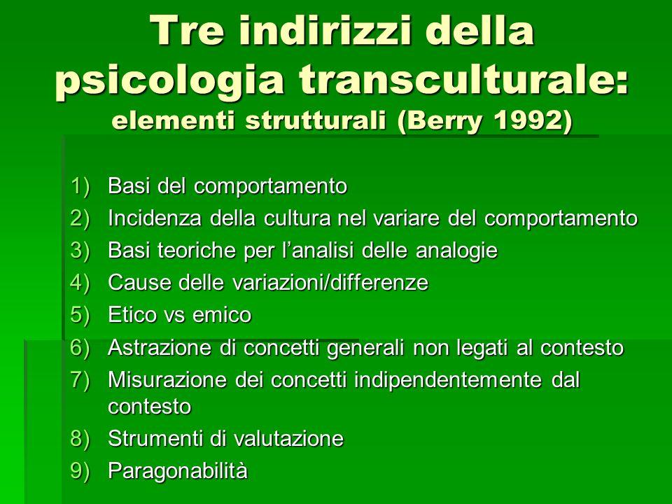 Tre indirizzi della psicologia transculturale: elementi strutturali (Berry 1992)