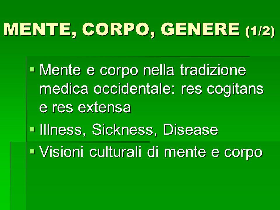 MENTE, CORPO, GENERE (1/2) Mente e corpo nella tradizione medica occidentale: res cogitans e res extensa.