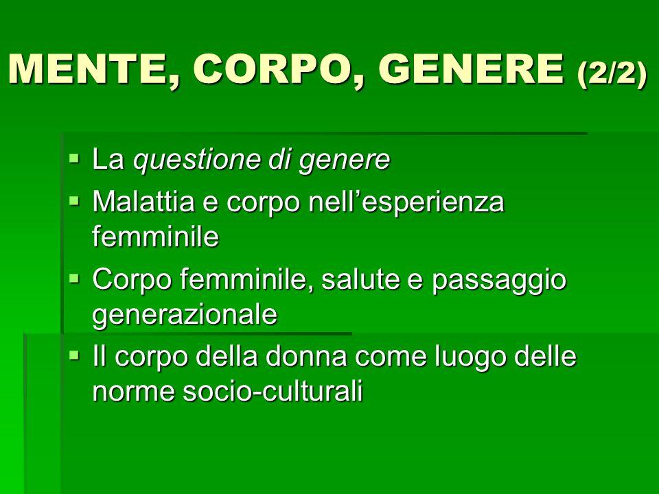 MENTE, CORPO, GENERE (2/2) La questione di genere
