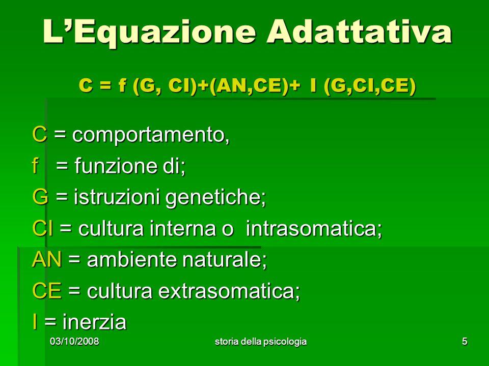 L'Equazione Adattativa C = f (G, CI)+(AN,CE)+ I (G,CI,CE)