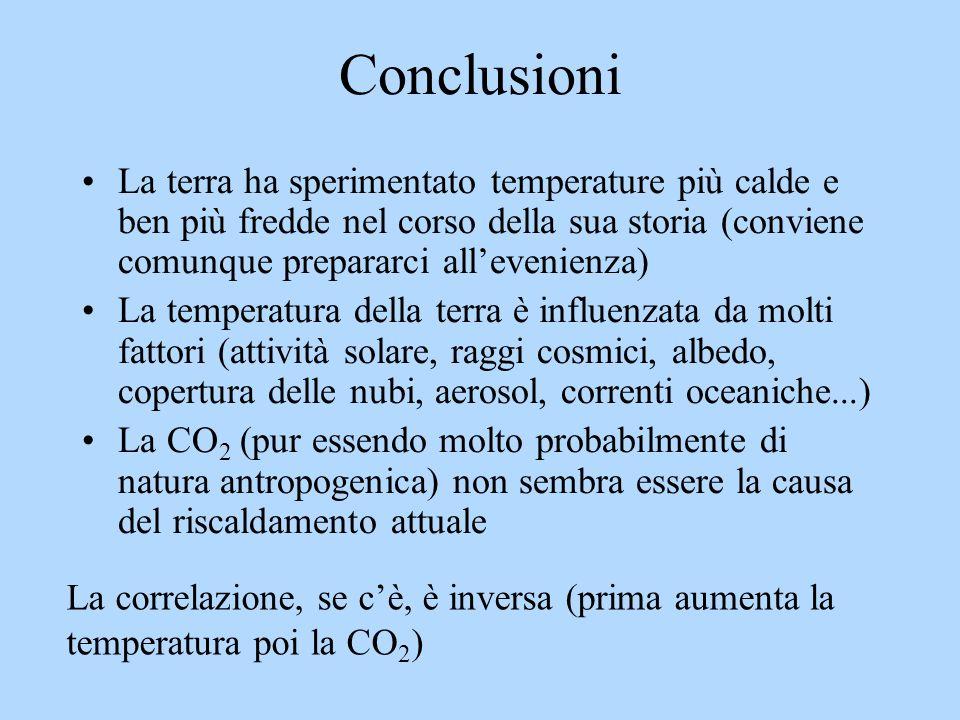 Conclusioni La terra ha sperimentato temperature più calde e ben più fredde nel corso della sua storia (conviene comunque prepararci all'evenienza)