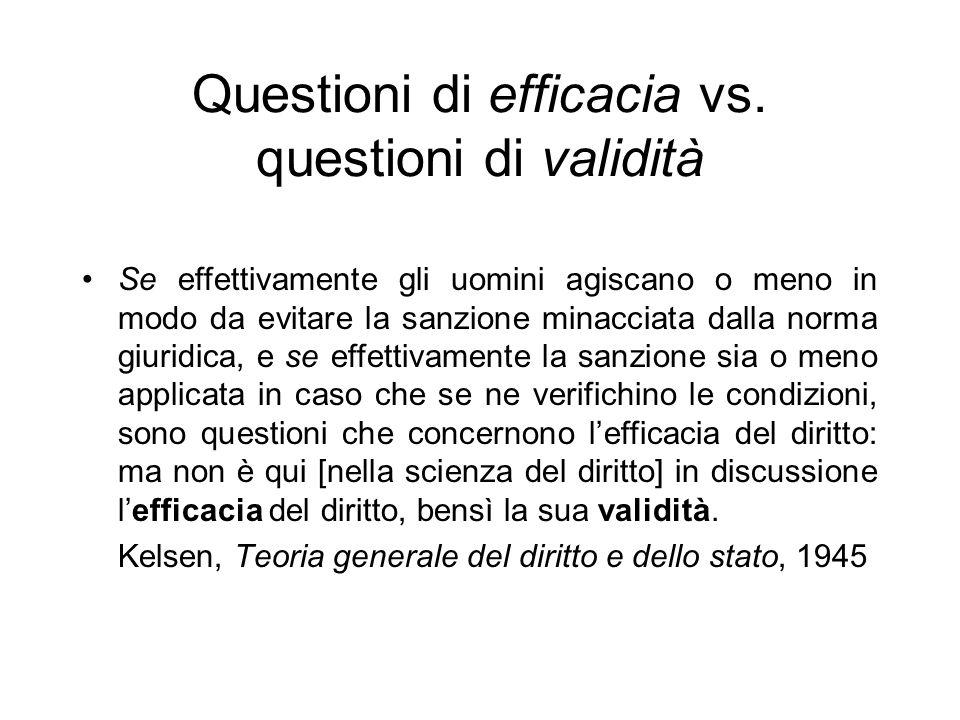 Questioni di efficacia vs. questioni di validità