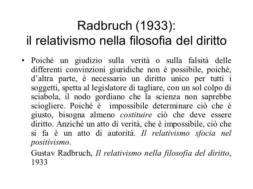 Radbruch (1933): il relativismo nella filosofia del diritto