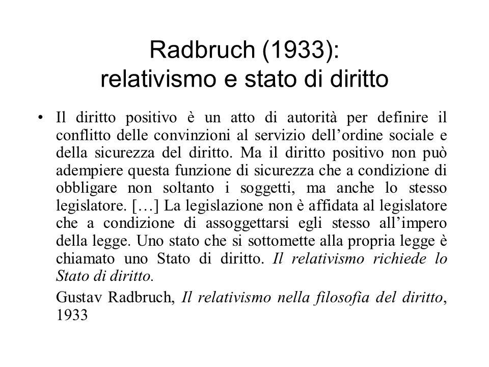Radbruch (1933): relativismo e stato di diritto