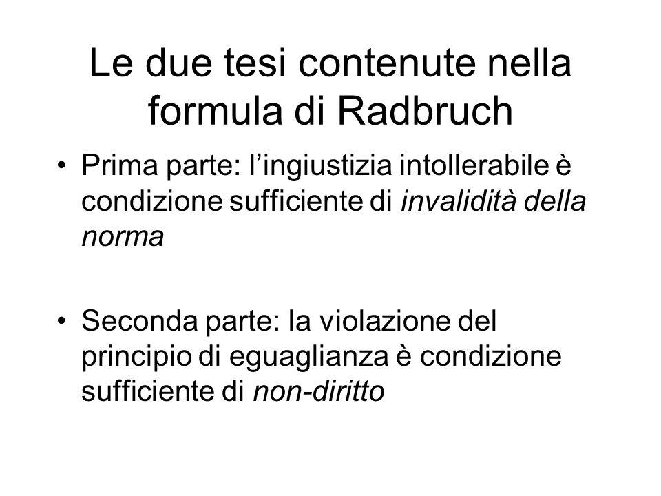 Le due tesi contenute nella formula di Radbruch