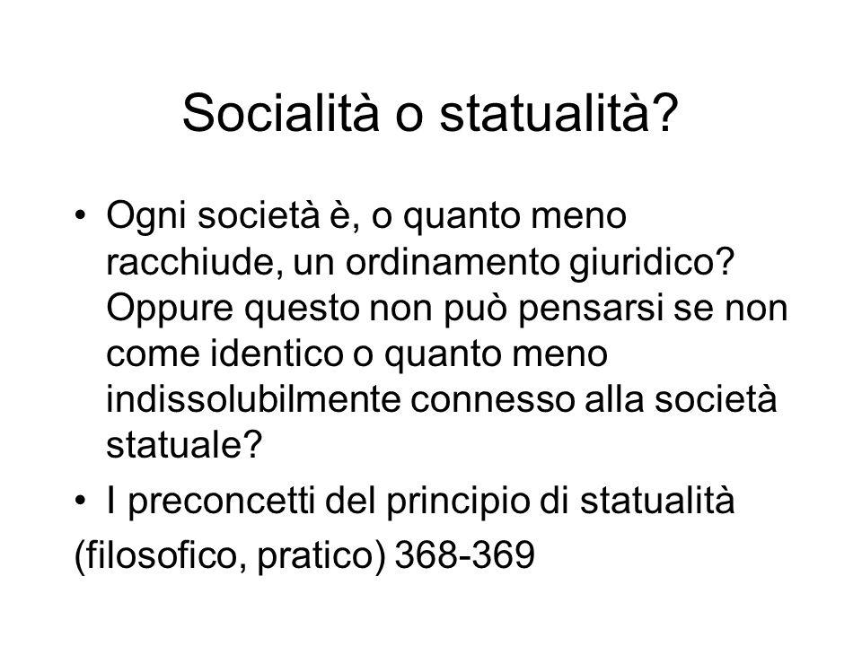 Socialità o statualità