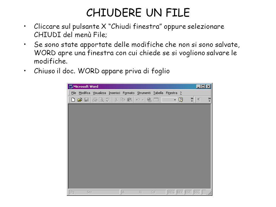 CHIUDERE UN FILE Cliccare sul pulsante X Chiudi finestra oppure selezionare CHIUDI del menù File;