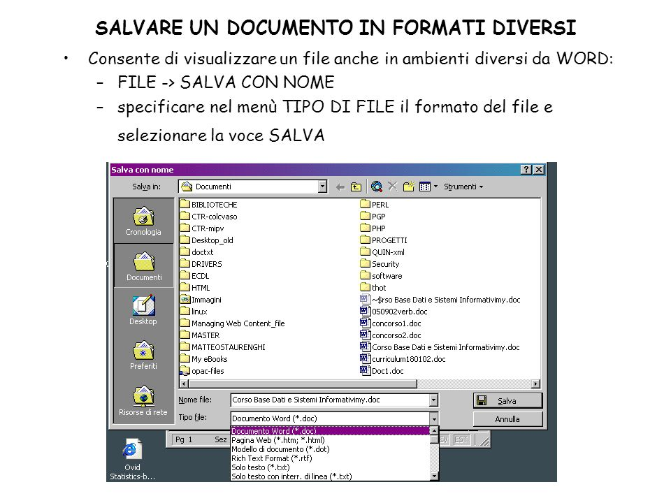 SALVARE UN DOCUMENTO IN FORMATI DIVERSI