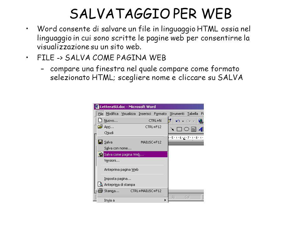 SALVATAGGIO PER WEB
