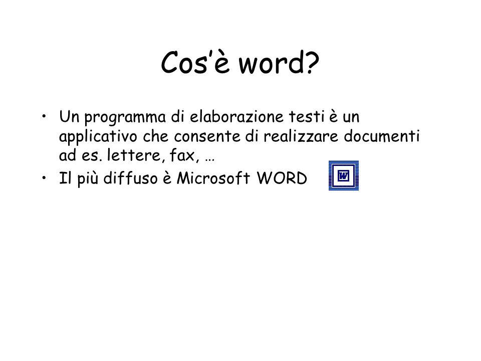 Cos'è word Un programma di elaborazione testi è un applicativo che consente di realizzare documenti ad es. lettere, fax, …
