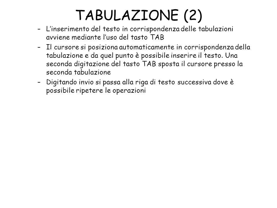 TABULAZIONE (2) L'inserimento del testo in corrispondenza delle tabulazioni avviene mediante l'uso del tasto TAB.