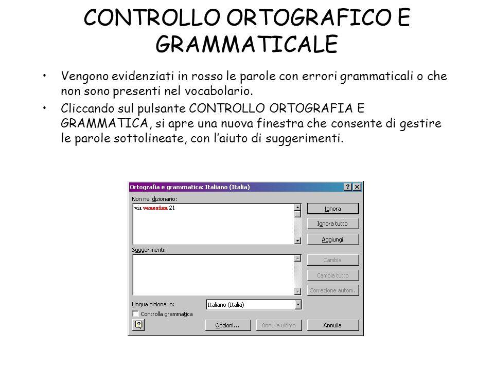 CONTROLLO ORTOGRAFICO E GRAMMATICALE