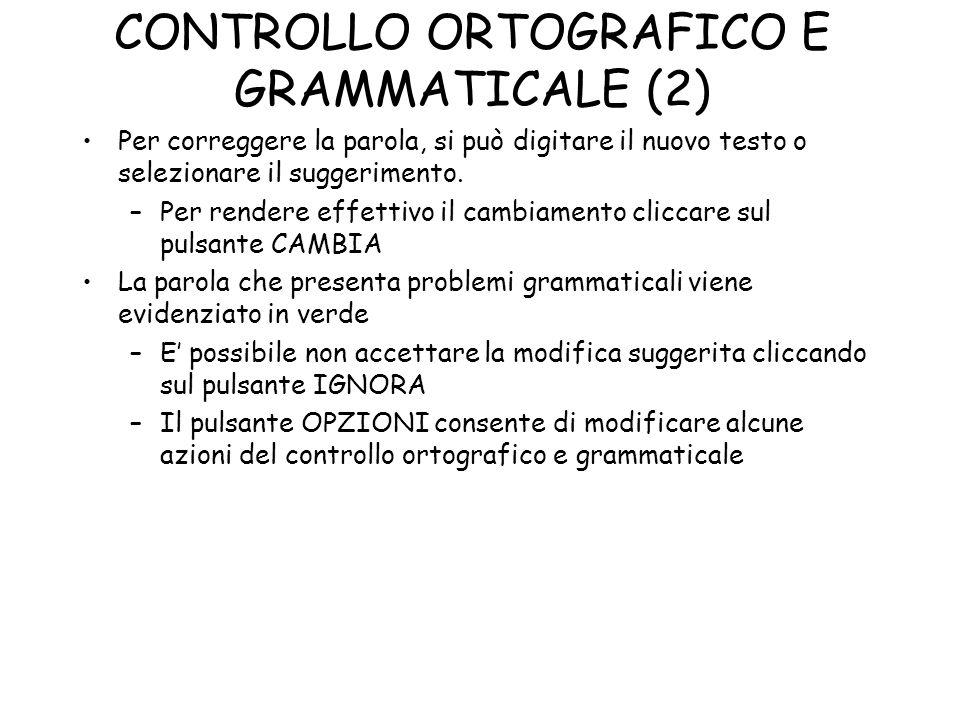 CONTROLLO ORTOGRAFICO E GRAMMATICALE (2)