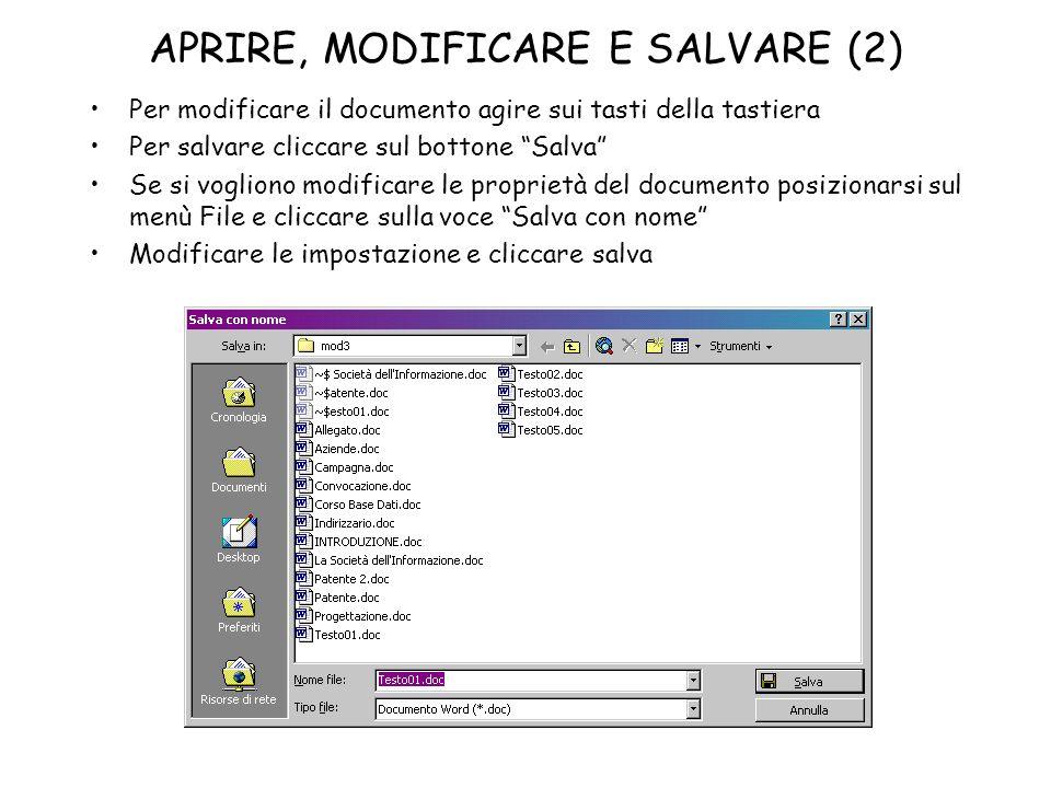 APRIRE, MODIFICARE E SALVARE (2)