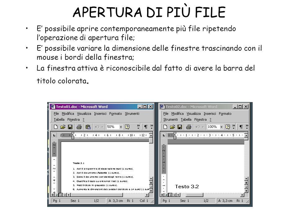 APERTURA DI PIÙ FILE E' possibile aprire contemporaneamente più file ripetendo l'operazione di apertura file;