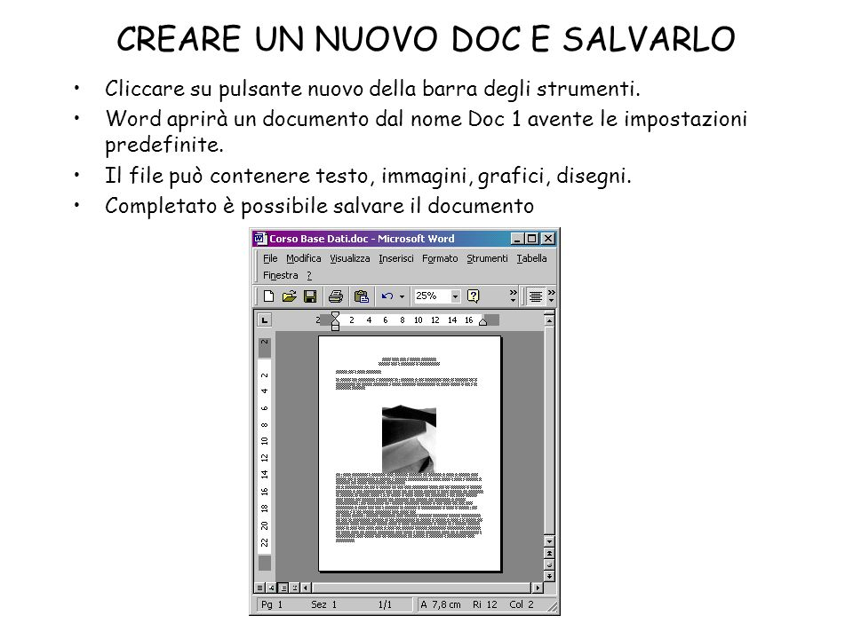 CREARE UN NUOVO DOC E SALVARLO