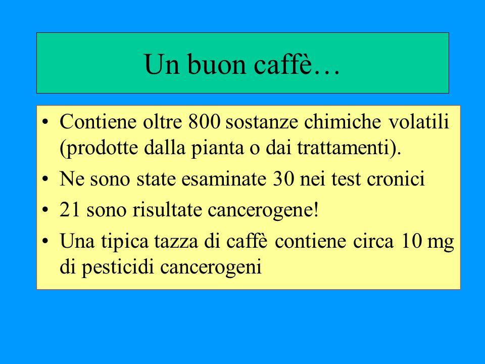 Un buon caffè… Contiene oltre 800 sostanze chimiche volatili (prodotte dalla pianta o dai trattamenti).
