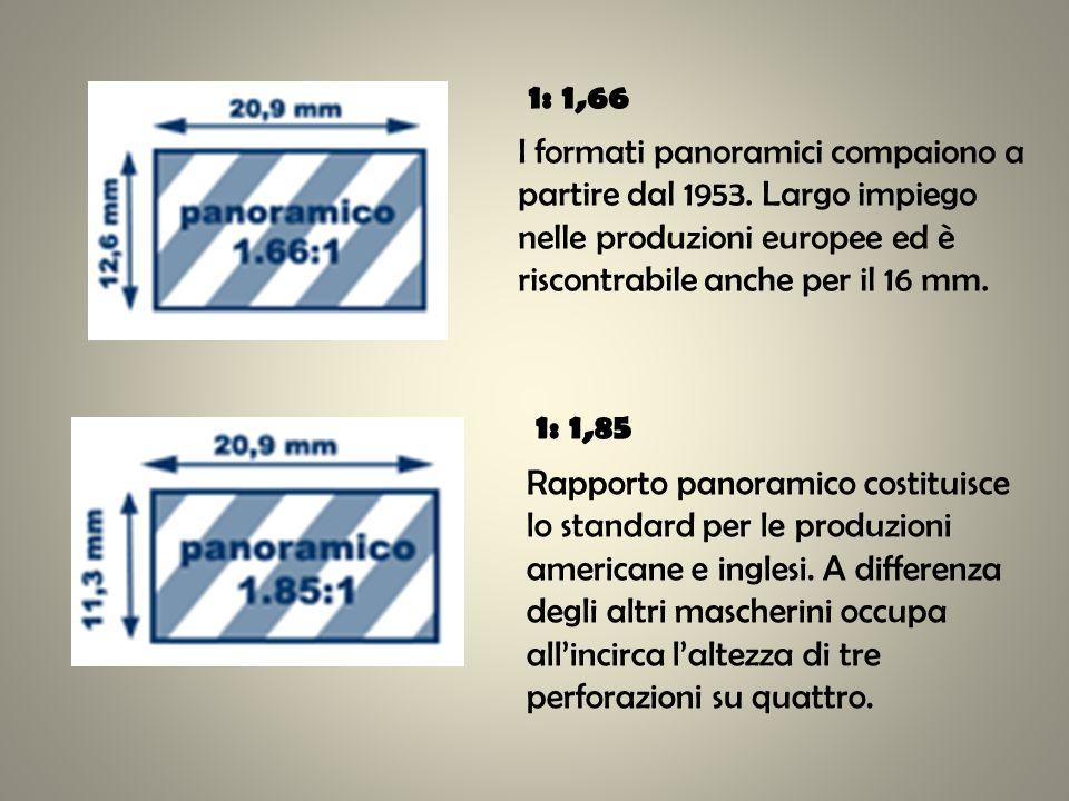 1: 1,66 I formati panoramici compaiono a partire dal 1953. Largo impiego nelle produzioni europee ed è riscontrabile anche per il 16 mm.
