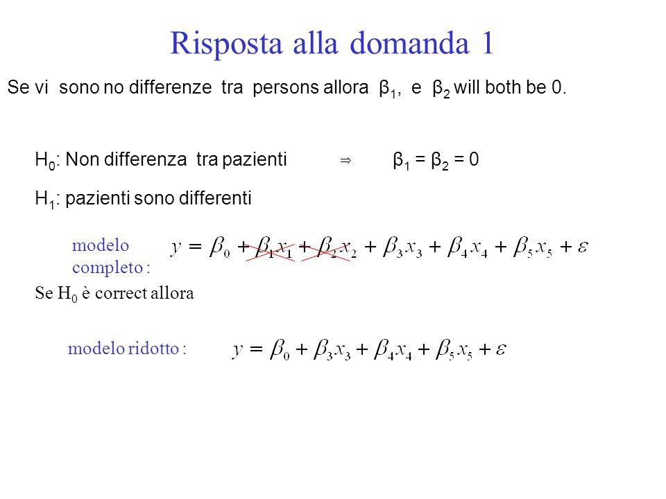 Risposta alla domanda 1 Se vi sono no differenze tra persons allora β1, e β2 will both be 0.
