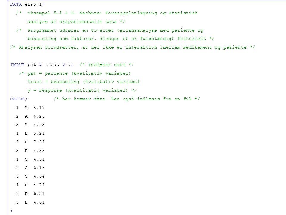 /* eksempel 5.1 i G. Nachman: Forsøgsplanlægning og statistisk
