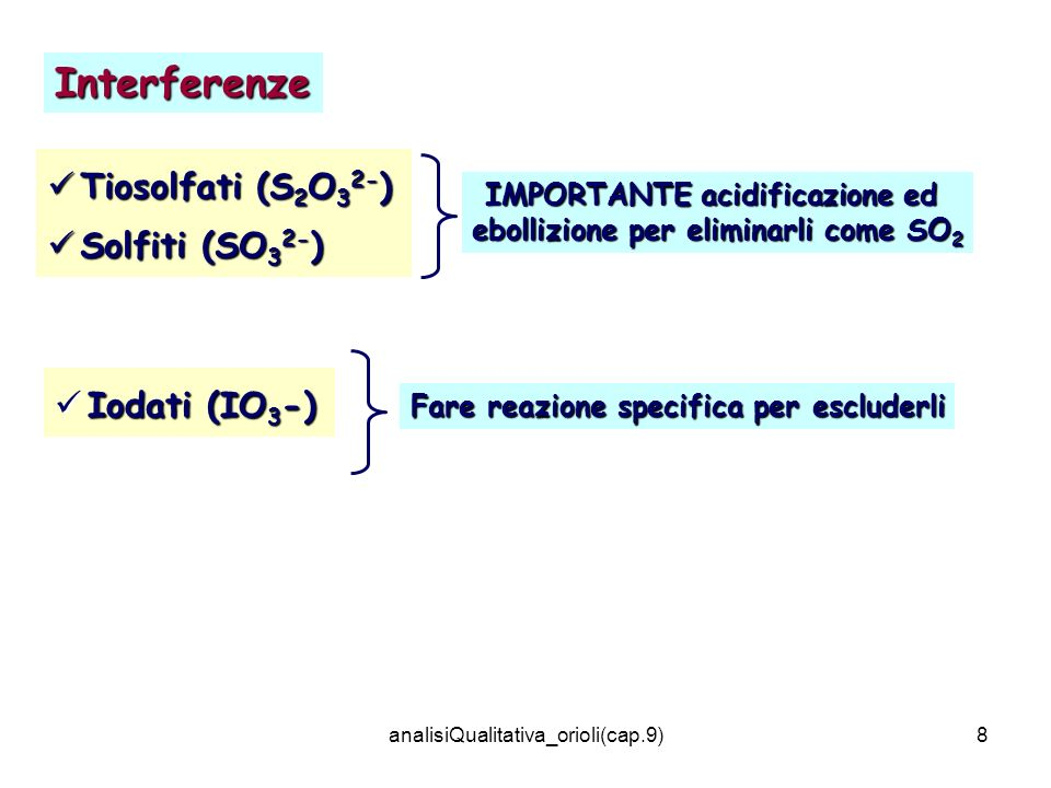 IMPORTANTE acidificazione ed ebollizione per eliminarli come SO2
