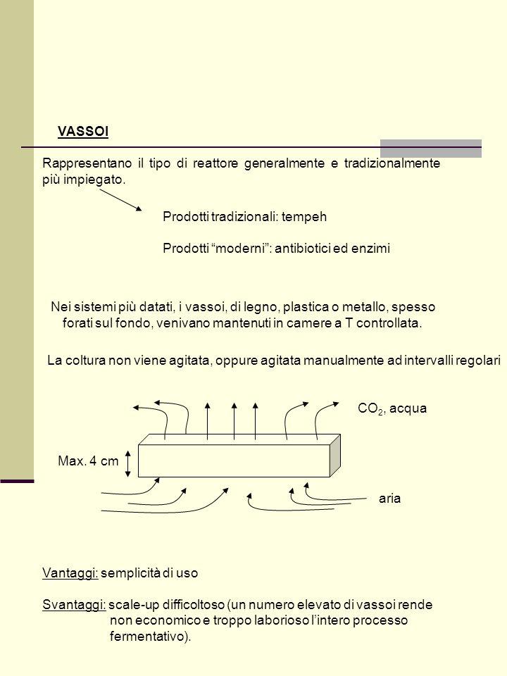 VASSOI Rappresentano il tipo di reattore generalmente e tradizionalmente più impiegato. Prodotti tradizionali: tempeh.
