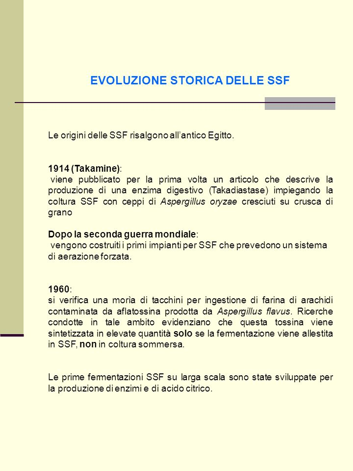 EVOLUZIONE STORICA DELLE SSF