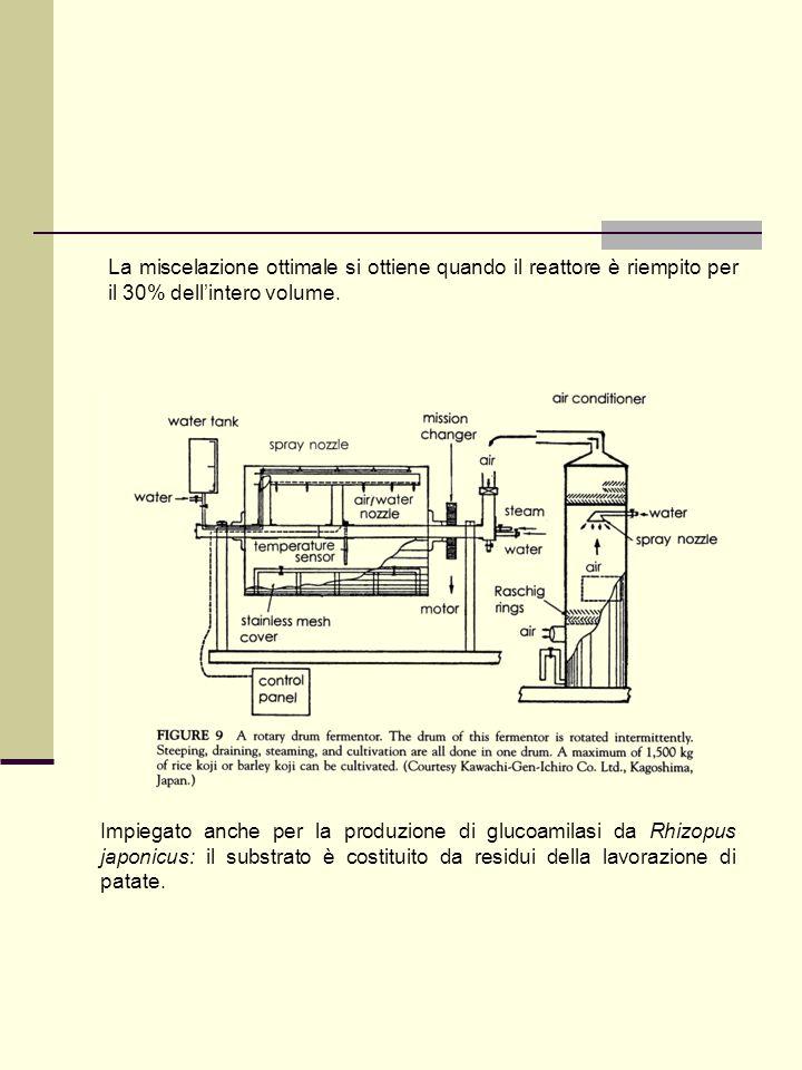 La miscelazione ottimale si ottiene quando il reattore è riempito per il 30% dell'intero volume.