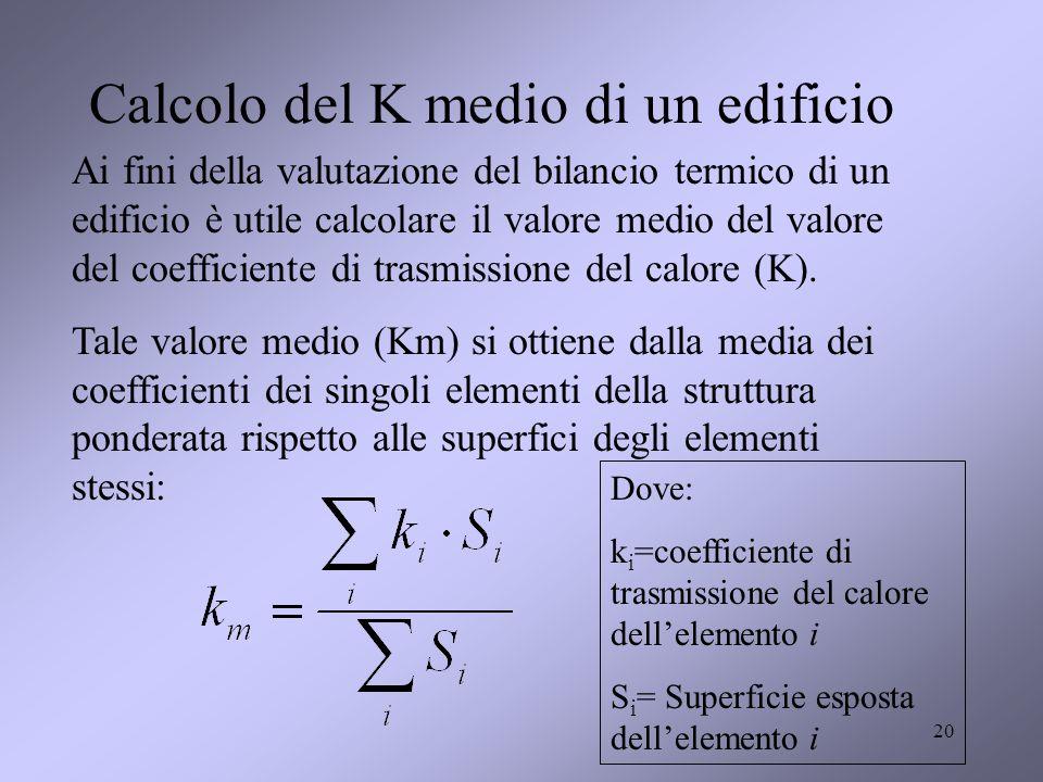 Calcolo del K medio di un edificio