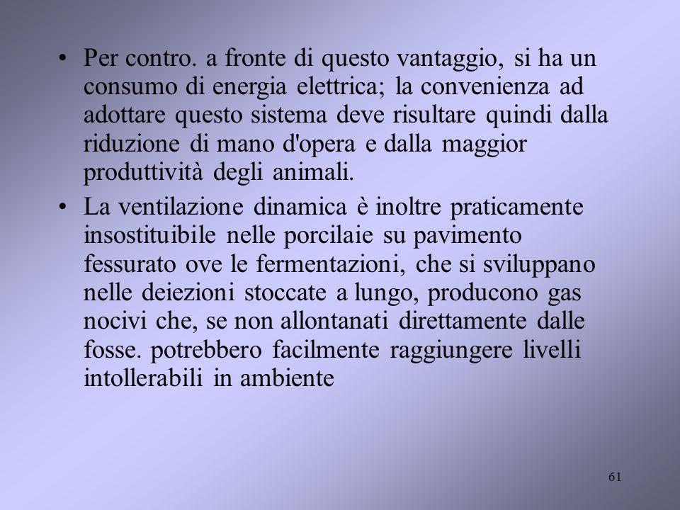 Per contro. a fronte di questo vantaggio, si ha un consumo di energia elettrica; la convenienza ad adottare questo sistema deve risultare quindi dalla riduzione di mano d opera e dalla maggior produttività degli animali.