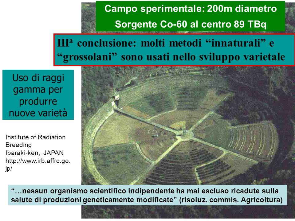 Campo sperimentale: 200m diametro Sorgente Co-60 al centro 89 TBq