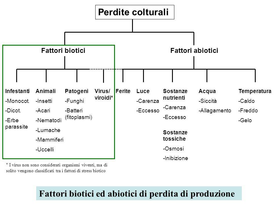 Fattori biotici ed abiotici di perdita di produzione