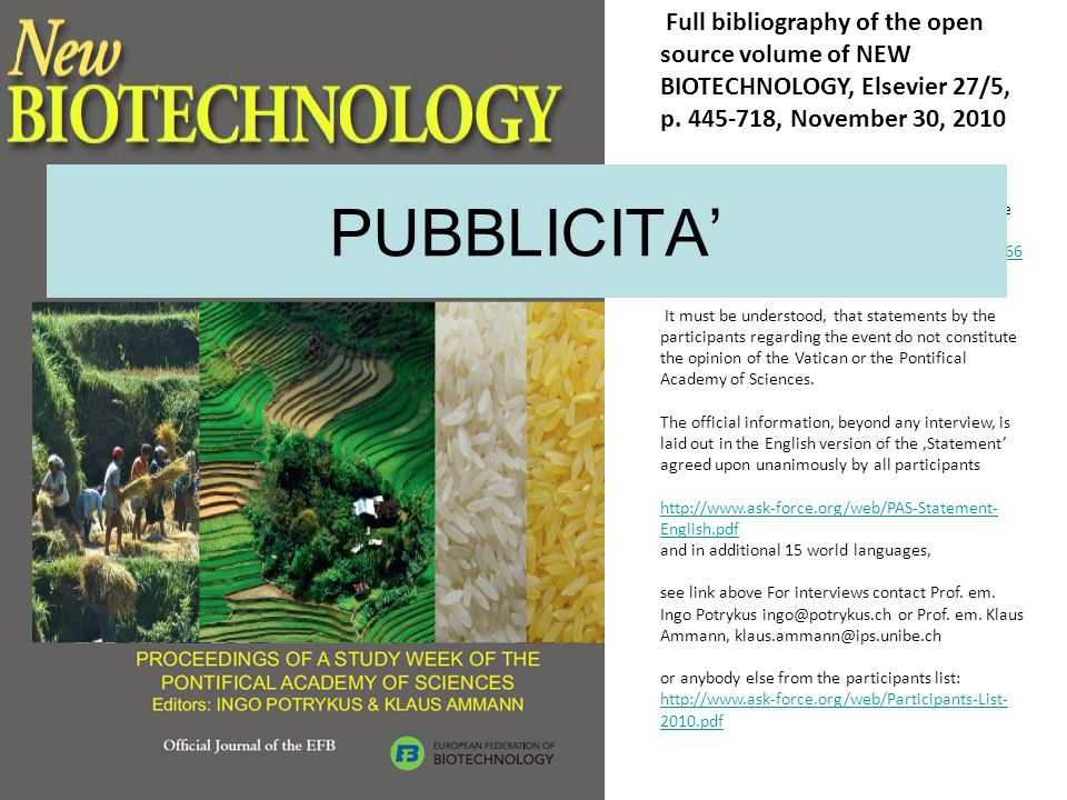 Full bibliography of the open source volume of NEW BIOTECHNOLOGY, Elsevier 27/5, p. 445-718, November 30, 2010