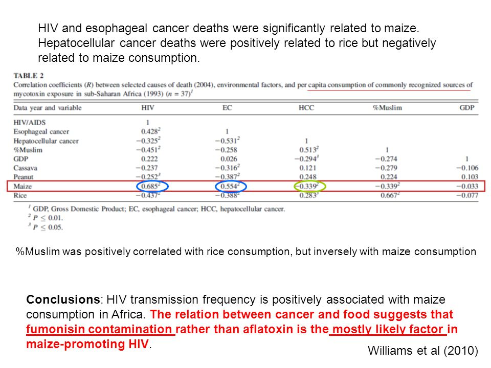 HIV and esophageal cancer deaths were significantly related to maize.