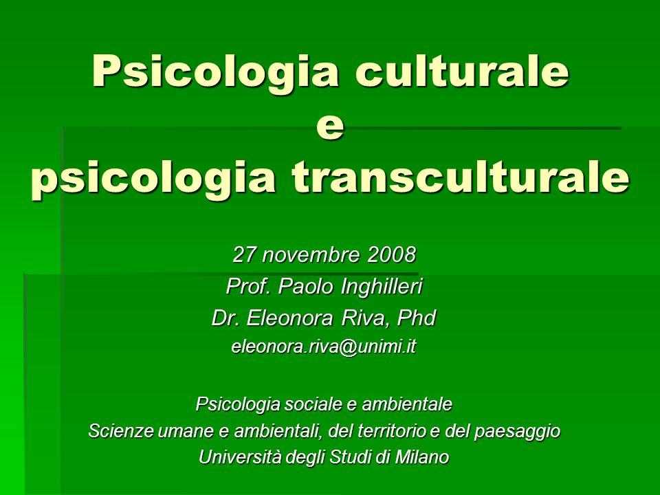 Psicologia culturale e psicologia transculturale