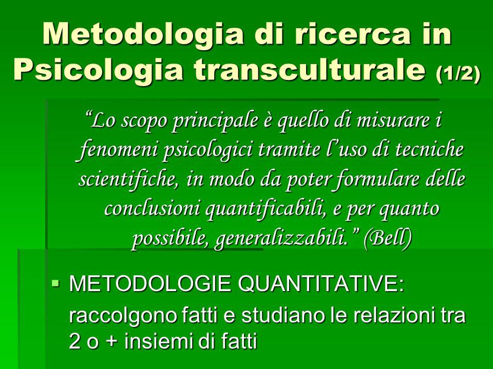 Metodologia di ricerca in Psicologia transculturale (1/2)