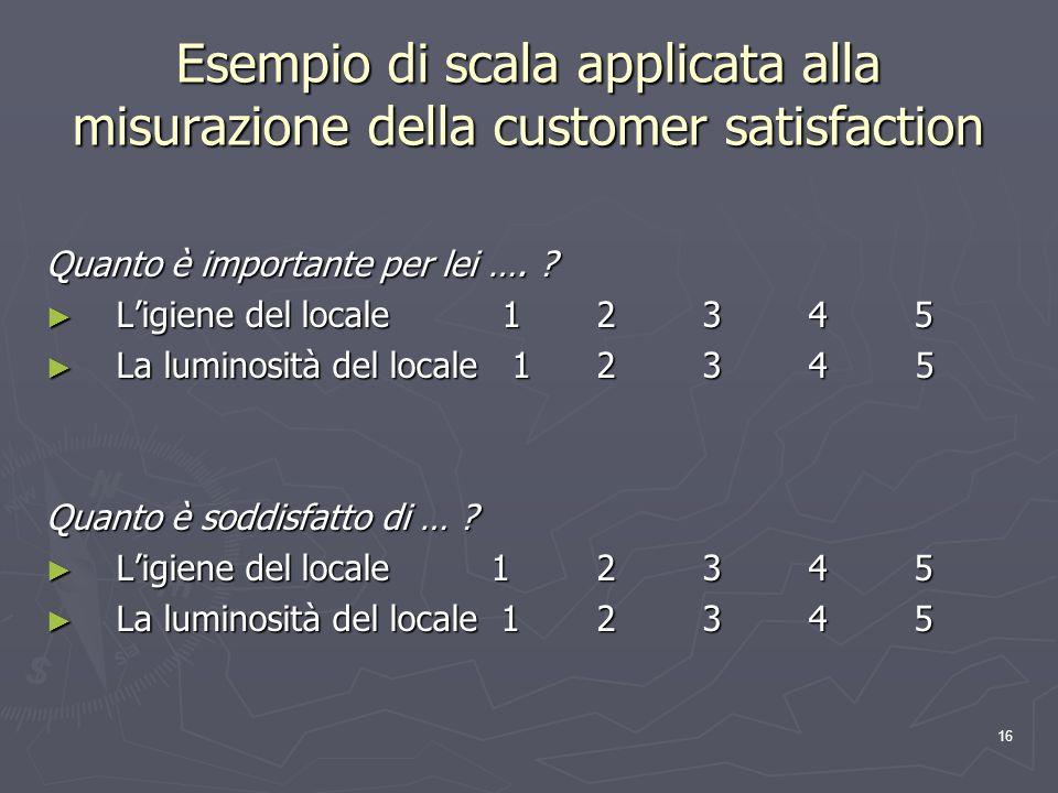 Esempio di scala applicata alla misurazione della customer satisfaction