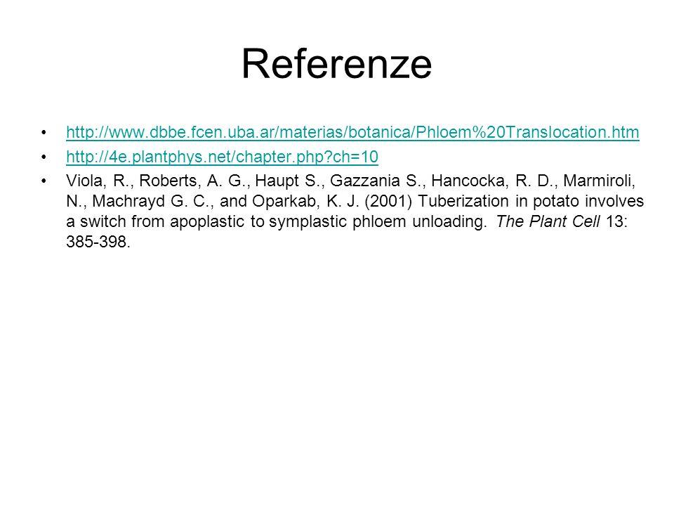 Referenze http://www.dbbe.fcen.uba.ar/materias/botanica/Phloem%20Translocation.htm. http://4e.plantphys.net/chapter.php ch=10.