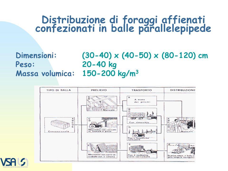 Distribuzione di foraggi affienati confezionati in balle parallelepipede