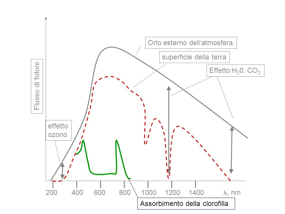 200 400. 600. 800. 1000. 1200. 1400. Flusso di fotoni. Orlo esterno dell'atmosfera. , nm. superficie della terra.