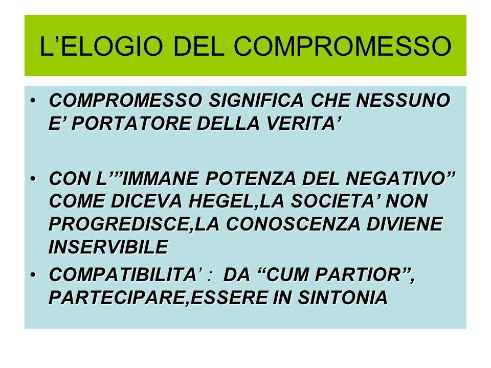 L'ELOGIO DEL COMPROMESSO