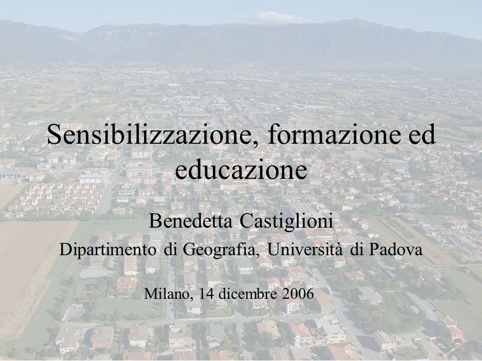 Sensibilizzazione, formazione ed educazione