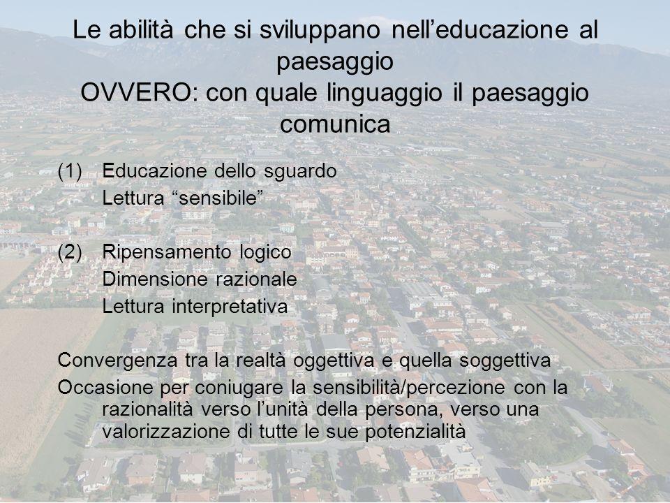 Le abilità che si sviluppano nell'educazione al paesaggio OVVERO: con quale linguaggio il paesaggio comunica