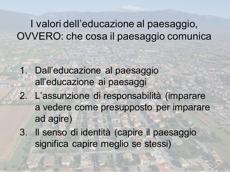 I valori dell'educazione al paesaggio, OVVERO: che cosa il paesaggio comunica