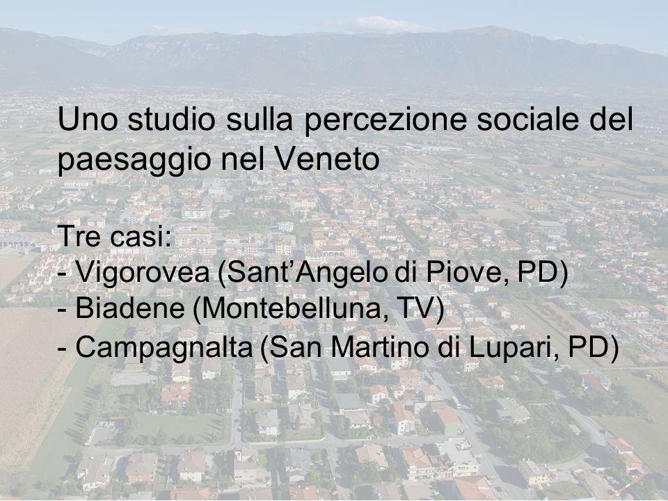 Uno studio sulla percezione sociale del paesaggio nel Veneto Tre casi: - Vigorovea (Sant'Angelo di Piove, PD) - Biadene (Montebelluna, TV) - Campagnalta (San Martino di Lupari, PD)