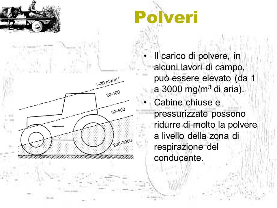 Polveri Il carico di polvere, in alcuni lavori di campo, può essere elevato (da 1 a 3000 mg/m3 di aria).