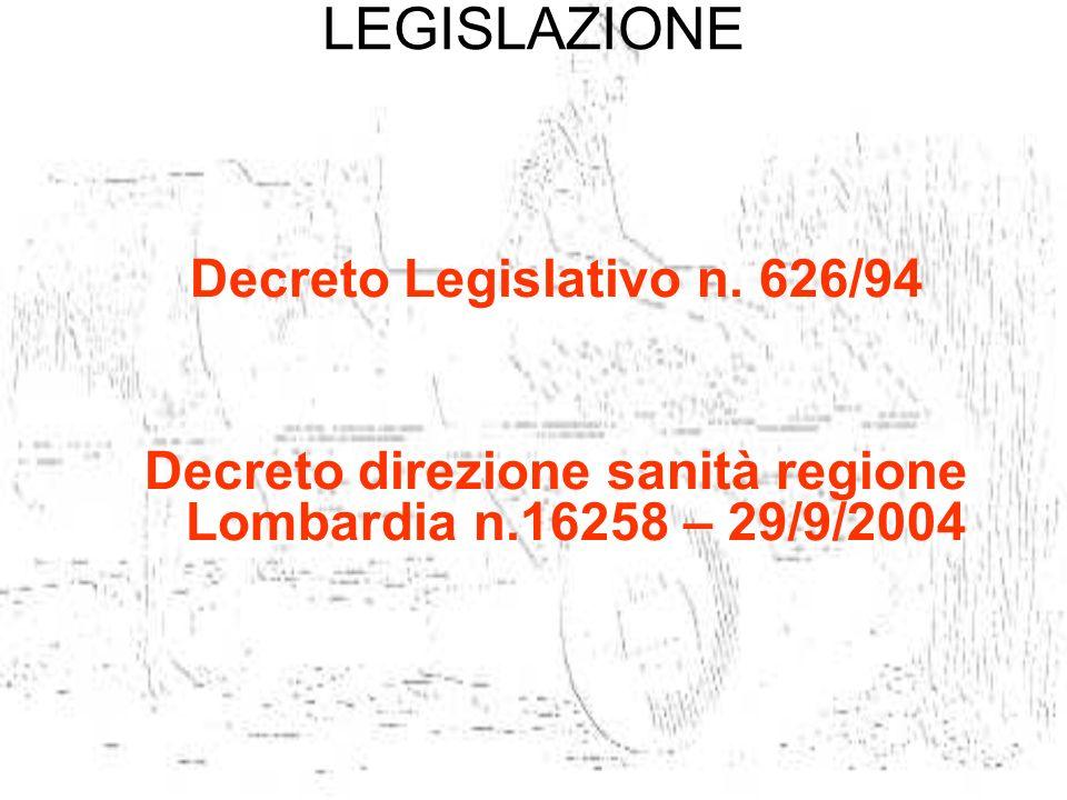 LEGISLAZIONE Decreto Legislativo n. 626/94