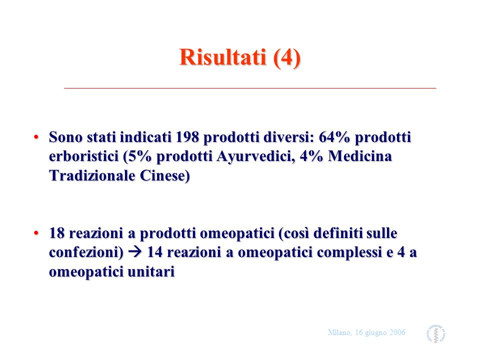 Risultati (4)Sono stati indicati 198 prodotti diversi: 64% prodotti erboristici (5% prodotti Ayurvedici, 4% Medicina Tradizionale Cinese)